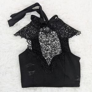 Black Lace Crop Top with Bow Tie Back